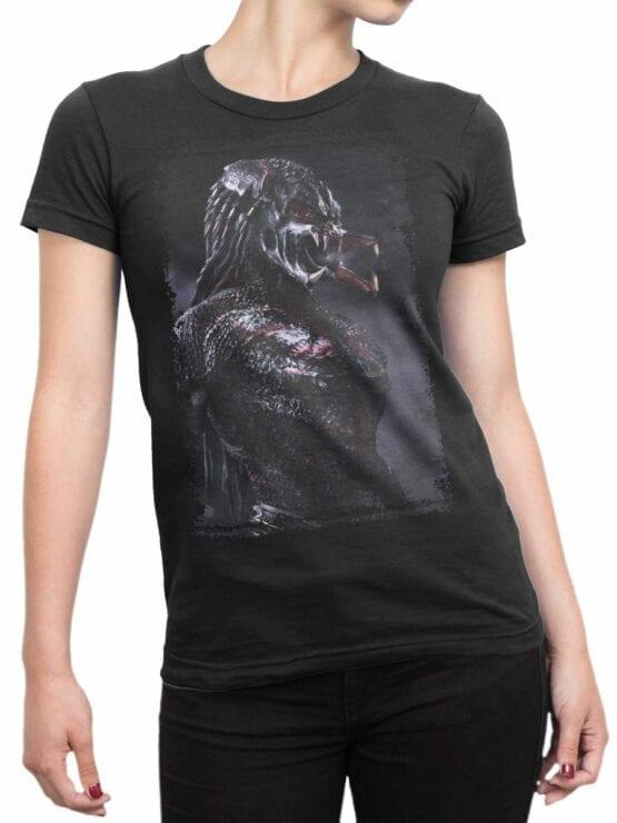 1041 Aliens T Shirt Predator Front Woman