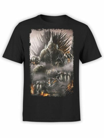 1054 Godzilla T Shirt Throne Front