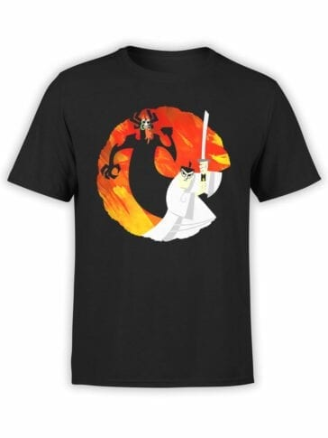 1056 Samurai Jack T Shirt Jack and Aku Front
