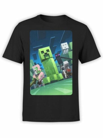 1058 Minecraft T Shirt Dark Side Front