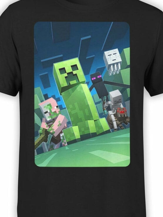 1058 Minecraft T Shirt Dark Side Front Color