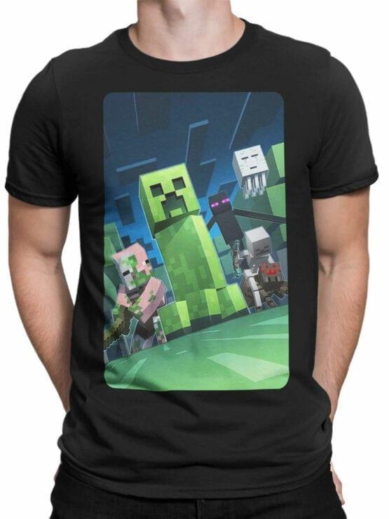1058 Minecraft T Shirt Dark Side Front Man