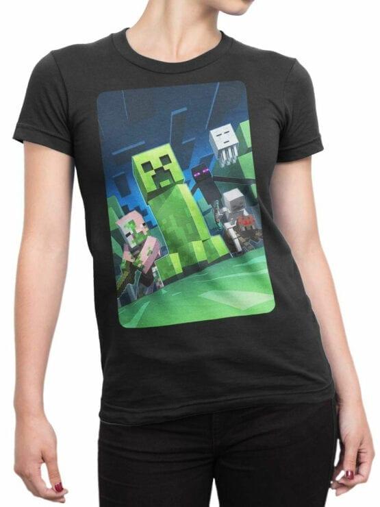 1058 Minecraft T Shirt Dark Side Front Woman