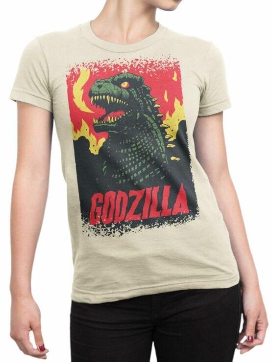 1064 Godzilla T Shirt Poster Front Woman