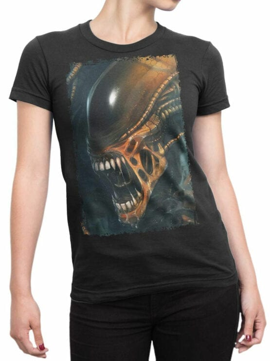 1091 Aliens T Shirt Horror Front Woman