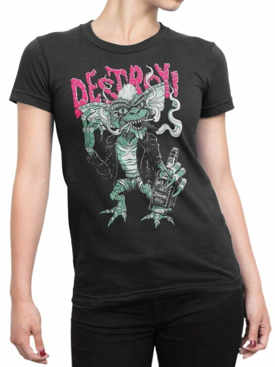 1102 Gremlins T Shirt Smoke Front Woman