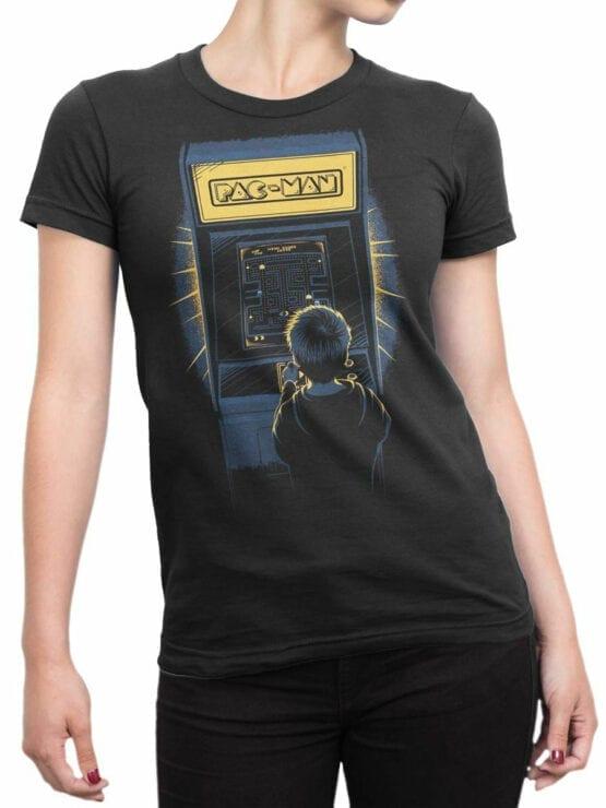 1114 Pac Man T Shirt Retro Front Woman