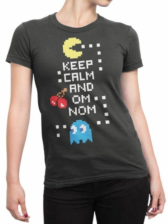 1119 Pac Man T Shirt Keep Calm Front Woman