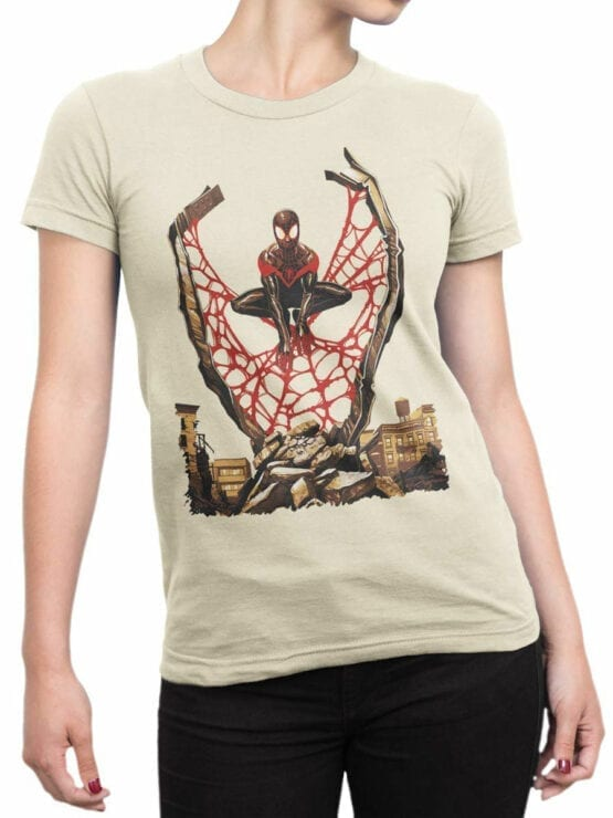 1135 Spider Man T Shirt City Front Woman