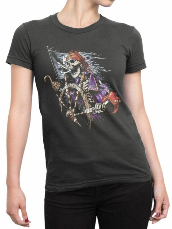 1158 Pirates of the Caribbean T Shirt Skeleton Front Woman