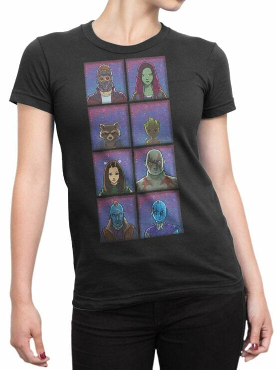 1171 Guardians of the Galaxy T Shirt Characters Front Woman