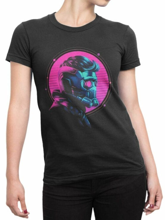 1177 Guardians of the Galaxy T Shirt Star Lord Helmet Front Woman
