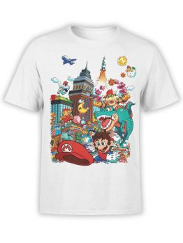 1204 Super Mario T Shirt Characters Front