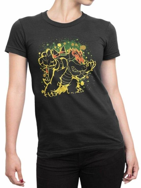 1206 Super Mario T Shirt Night Front Woman
