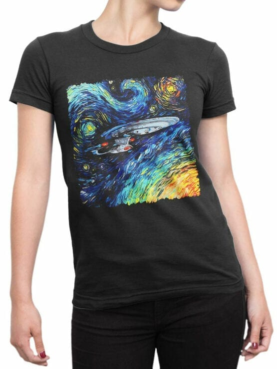 41194 Star Trek T Shirt Van Gogh Enterprise Front Woman