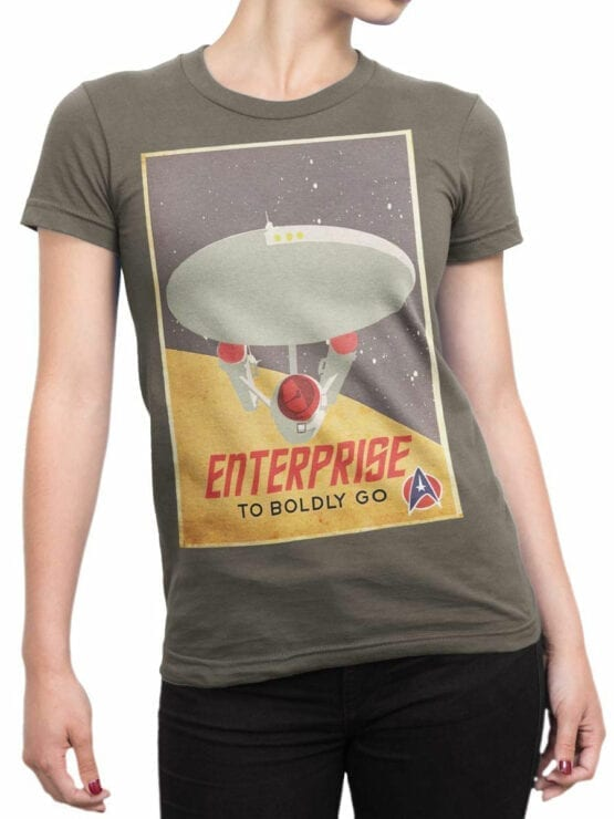 41197 Star Trek T Shirt Retro Enterprise Front Woman