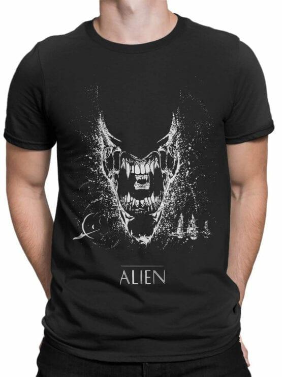 1222 Alien T Shirt Black Front Man