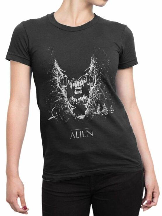 1222 Alien T Shirt Black Front Woman