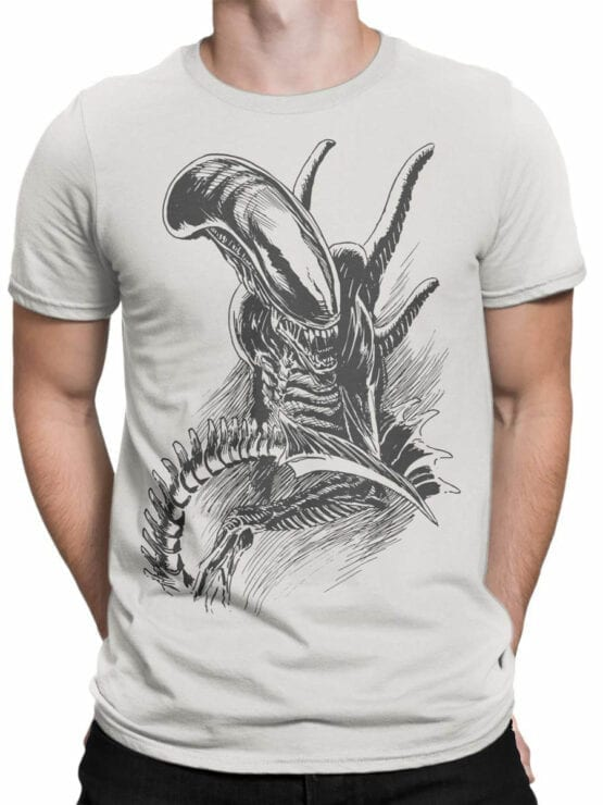 1230 Alien T Shirt Drawing Front Man