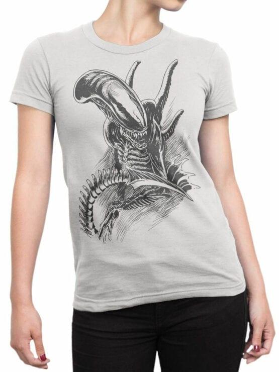 1230 Alien T Shirt Drawing Front Woman