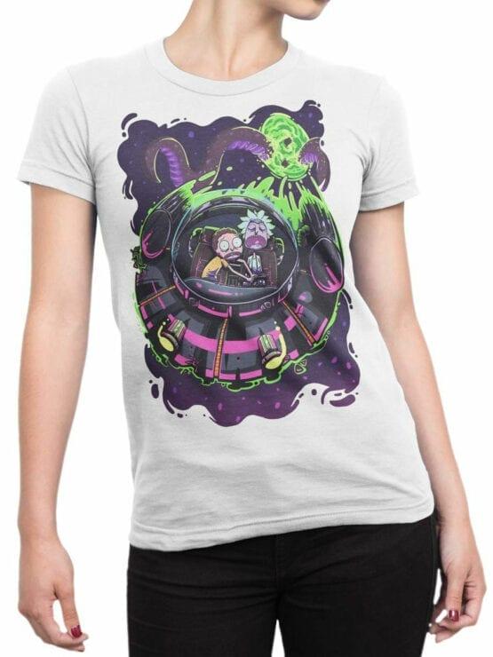 1232 Rick and Morty T Shirt Sleep Front Woman