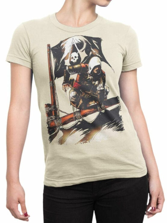 1260 Assassin's Creed T Shirt Pirates Front Woman