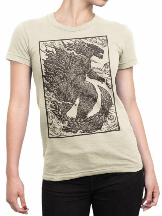 1282 Godzilla T Shirt Engraving Front Woman