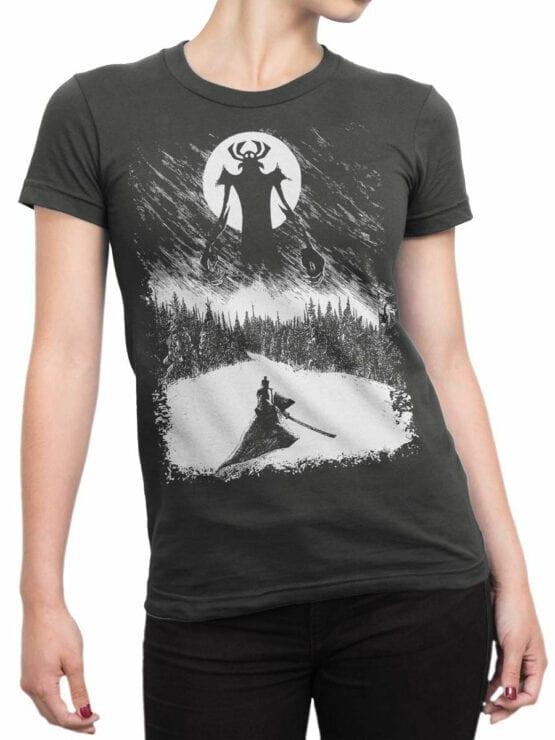 1303 Samurai Jack T Shirt Engraving Front Woman
