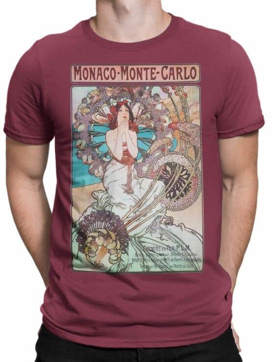 1324 Alphonse Mucha T Shirt Monaco Monte Carlo Front Man