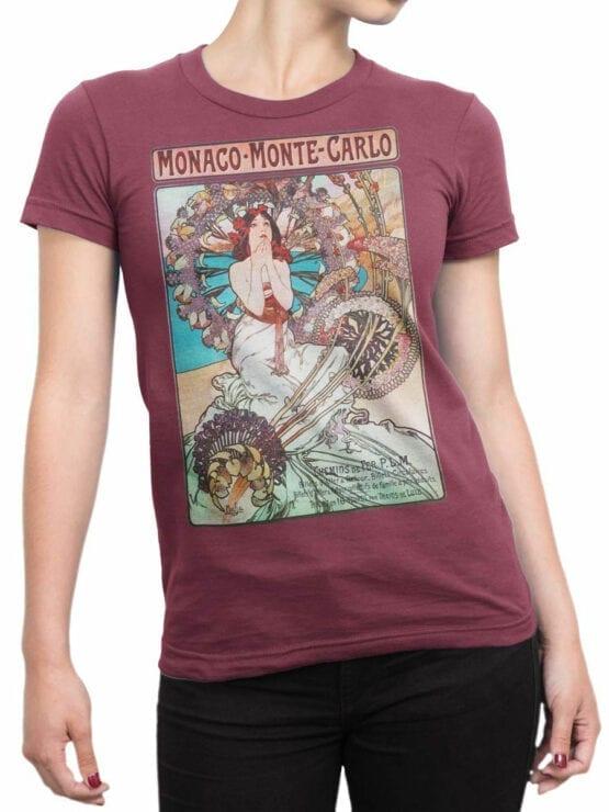1324 Alphonse Mucha T Shirt Monaco Monte Carlo Front Woman