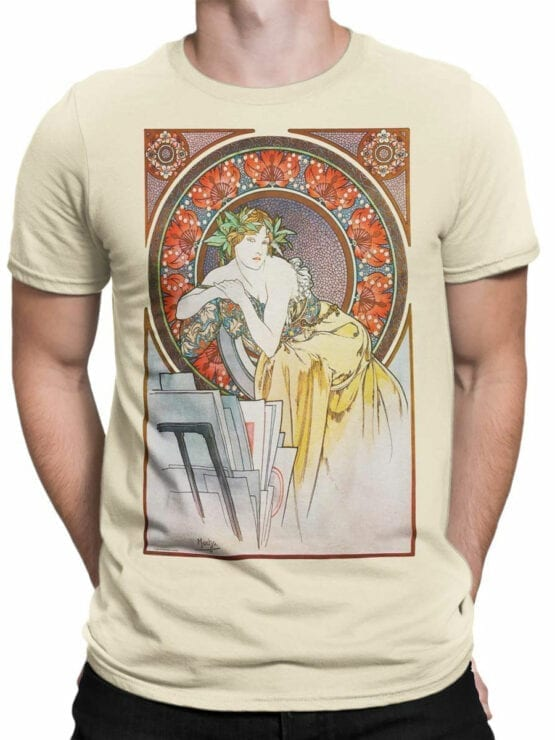 1325 Alphonse Mucha T Shirt La femme au coquelicots Front Man