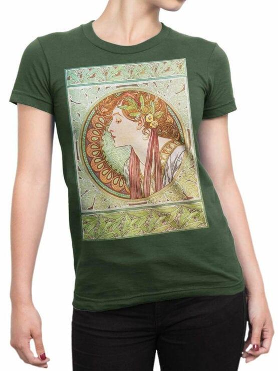 1328 Alphonse Mucha T Shirt Laurel Front Woman