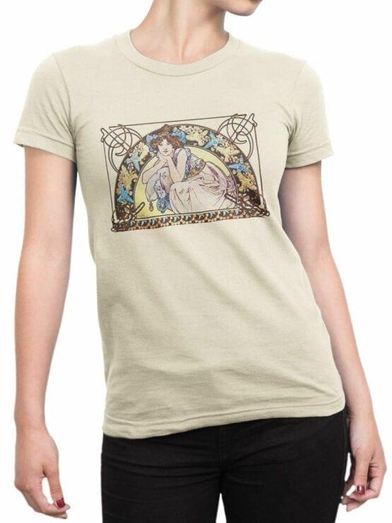 1329 Alphonse Mucha T Shirt Beltane Front Woman