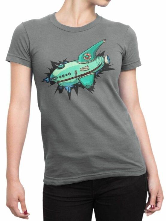 1333 Futurama T Shirt Ship Front Woman