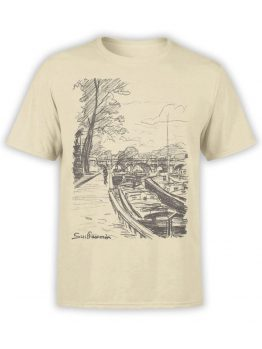 1342 Armand Guillaumin T Shirt Barges Moored to Bank of the Seine Front
