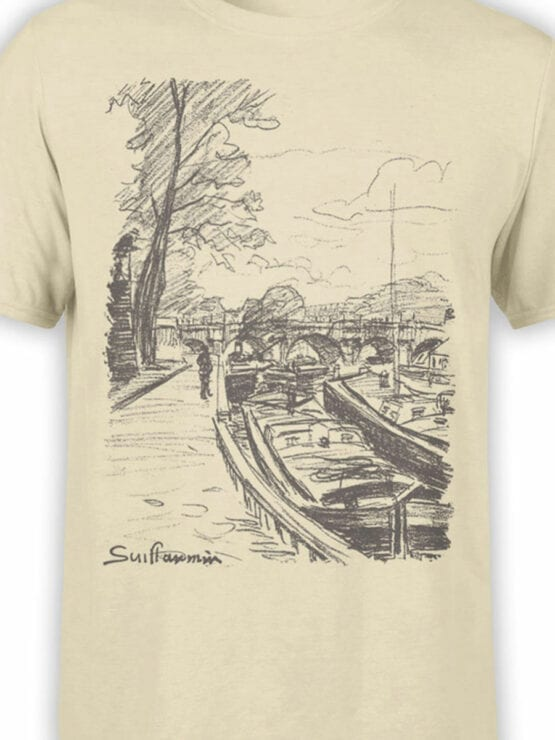 1342 Armand Guillaumin T Shirt Barges Moored to Bank of the Seine Front Color