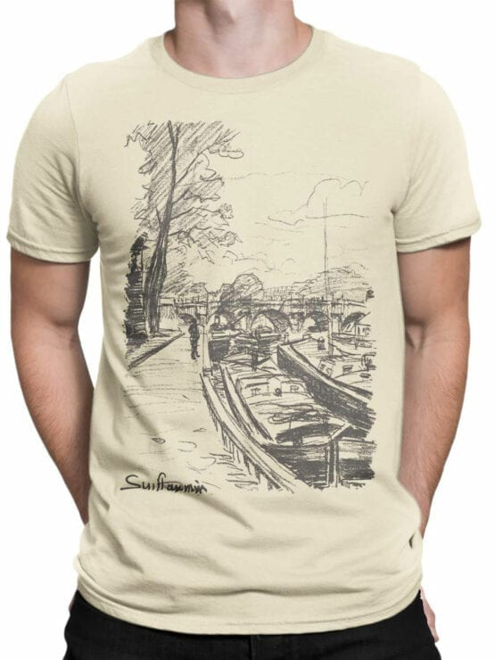 1342 Armand Guillaumin T Shirt Barges Moored to Bank of the Seine Front Man