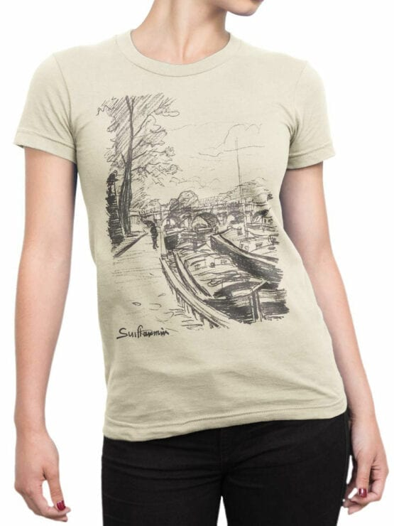 1342 Armand Guillaumin T Shirt Barges Moored to Bank of the Seine Front Woman
