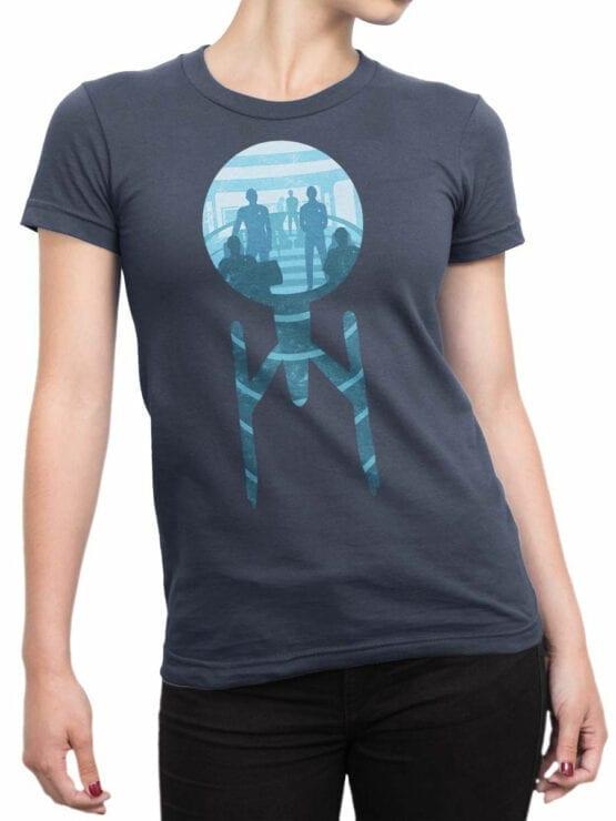 1358 Star Trek T Shirt Ship Front Woman