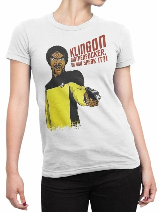 1360 Star Trek T Shirt Klingon Front Woman