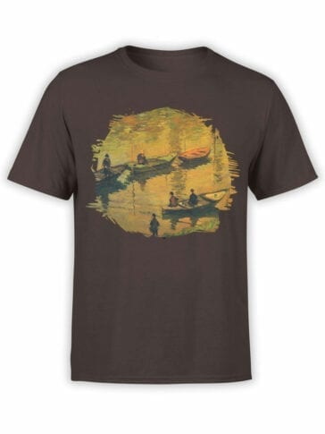 1404 Claude Monet T Shirt Anglers on the Seine at Poissy Front