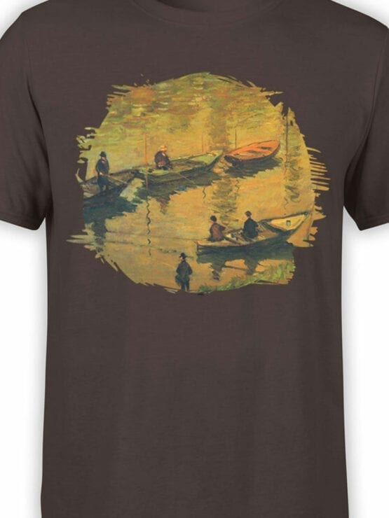 1404 Claude Monet T Shirt Anglers on the Seine at Poissy Front Color