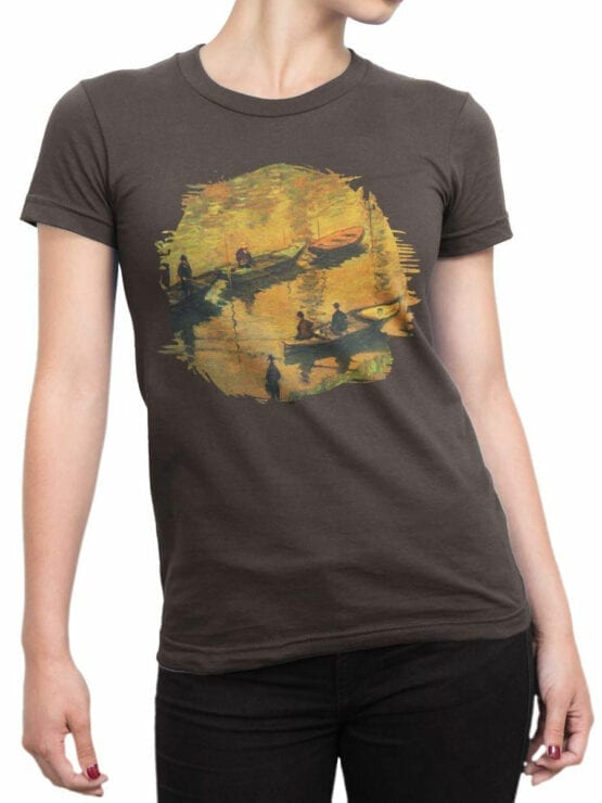 1404 Claude Monet T Shirt Anglers on the Seine at Poissy Front Woman