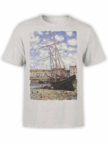 1405 Claude Monet T Shirt Boat at Low Tide at Fecamp Front