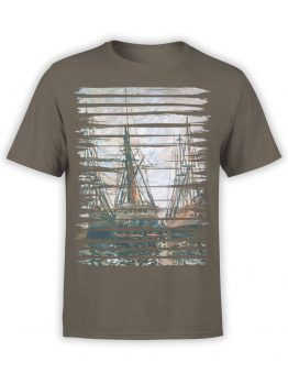 1406 Claude Monet T Shirt Boats on Rapair Front