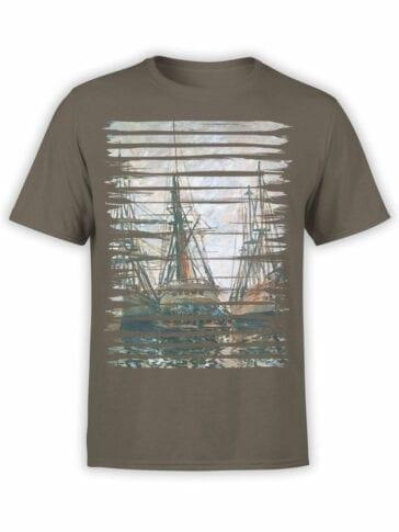 1406 Claude Monet T Shirt Boats on Rapair Front