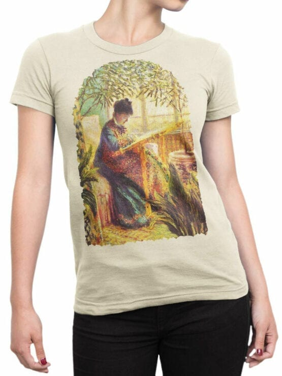 1407 Claude Monet T Shirt Camille Embroidering Front Woman