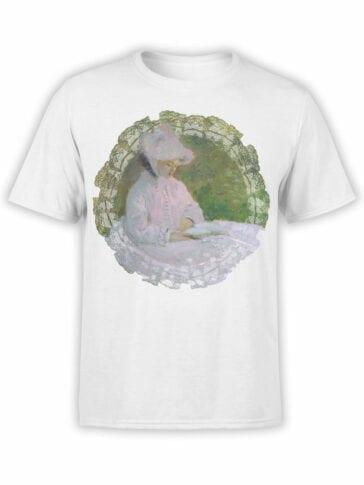 1410 Claude Monet T Shirt Woman Reading Front