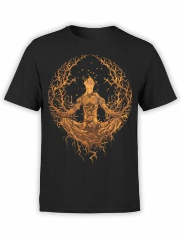 1416 Guardians of the Galaxy T Shirt Groot Meditation Front