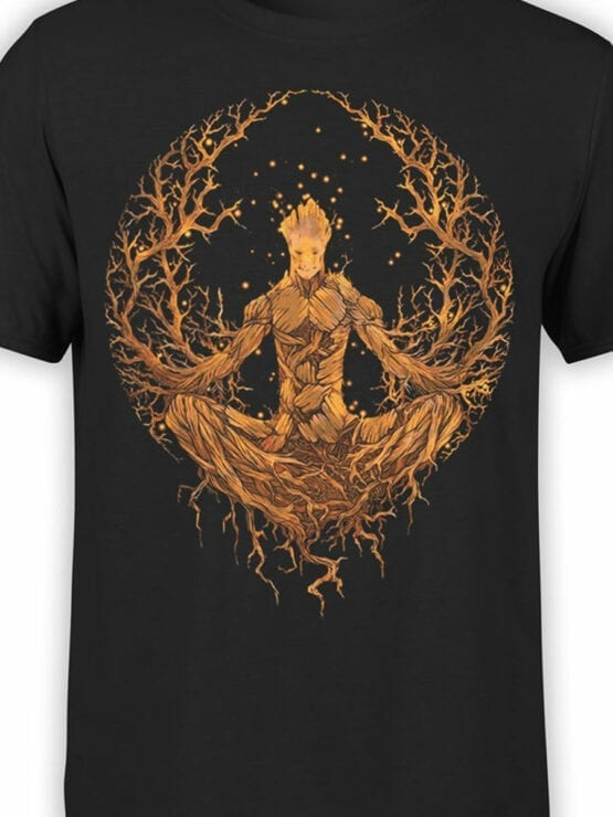 1416 Guardians of the Galaxy T Shirt Groot Meditation Front Color